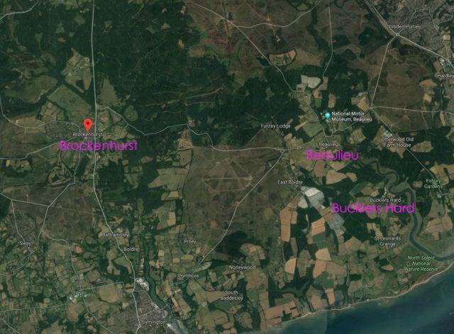 Map including Brockenhurst, Beaulieu, and Bucklers Hard