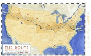 Map of Louis Anderson's bike ride from the Pacific to the Atlantic
