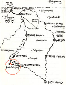 Map of 700 mile bike ride, highlighting section from Charlottesville to Afton.